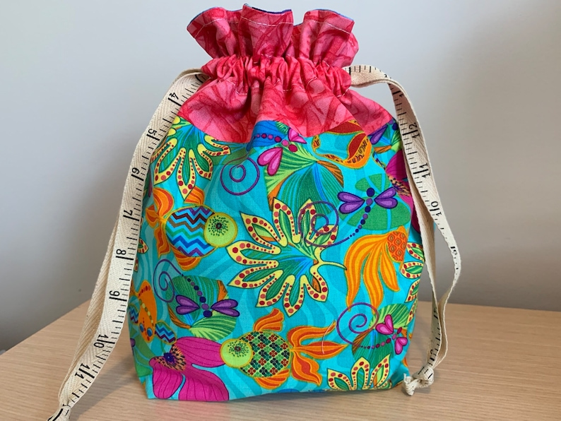 Tropical Fish Drawstring Project Bag with Antique Tape Measure image 0