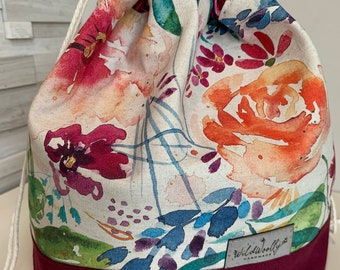 Drawstring Knitting Project Bucket  Bag, for larger multi-skein project, Canvas, Blooming Hibiscus, rose