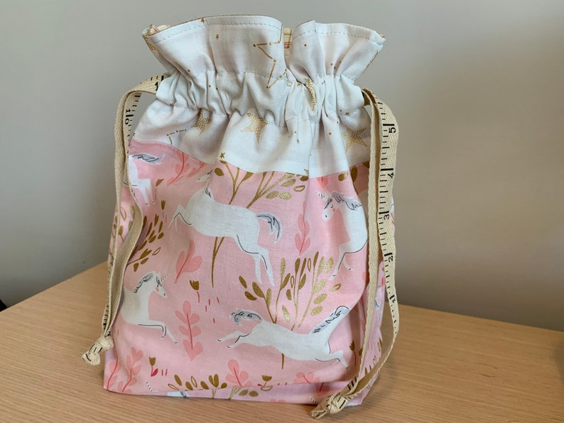 Unicorns on pink Drawstring Project Bag with Antique Tape image 0