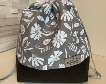 Drawstring Knitting Project Bucket  Bag, for larger multi-skein project, Canvas, Forage Flowers on Grey