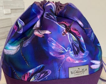 Drawstring Knitting Project Bucket  Bag, for larger multi-skein project, Dragonflies, Purple