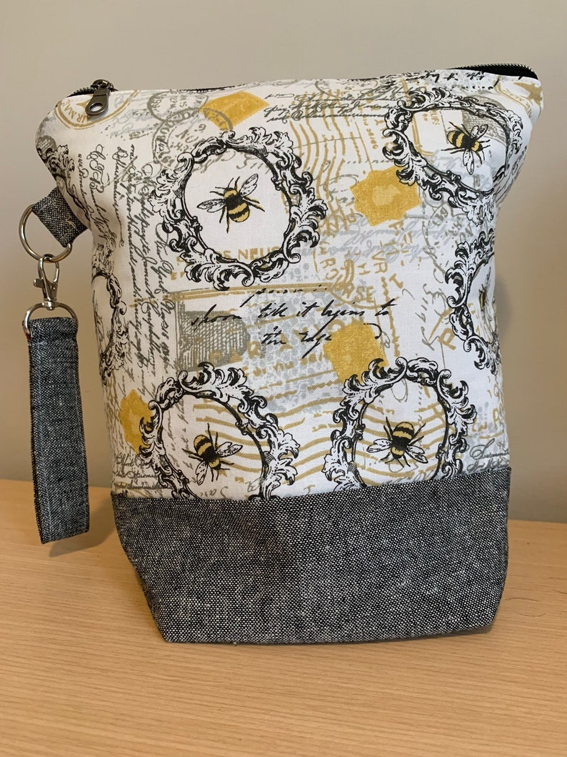 Bees Antique postcards Zippered Knitting Project Bag with image 0