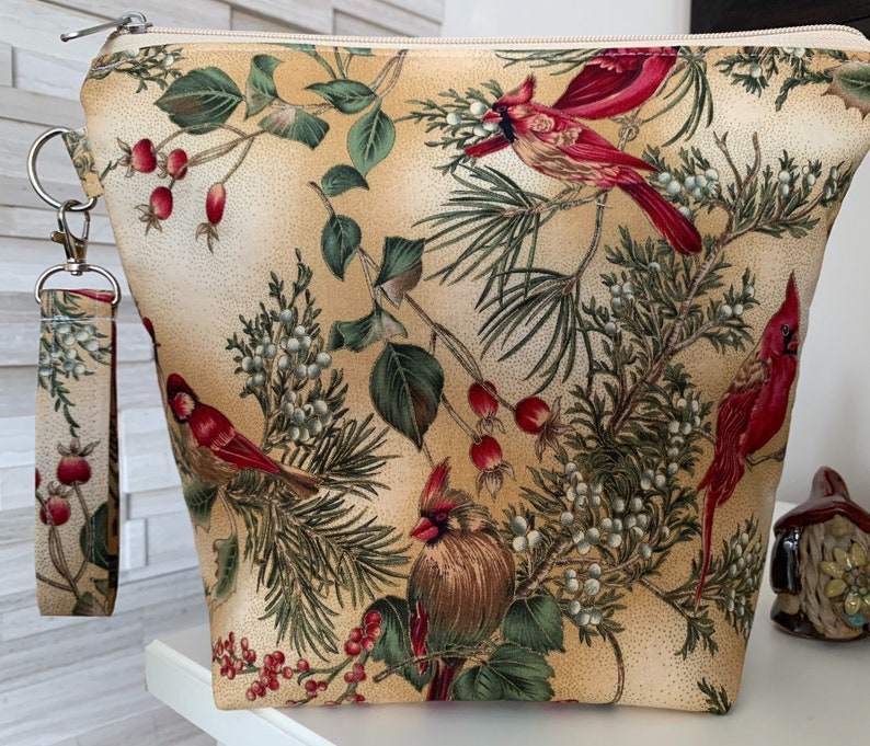 Winter Cardinals beige Zippered Knitting Project Bag with image 0