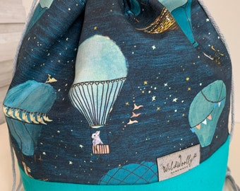 Drawstring Knitting Project Bucket  Bag, for larger multi-skein project, Canvas, Animals in Hot Air Balloons
