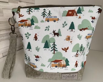 Woodland Camping Zippered Knitting Project Bag with detachable wrist fob, camper van, bear, VW, tent