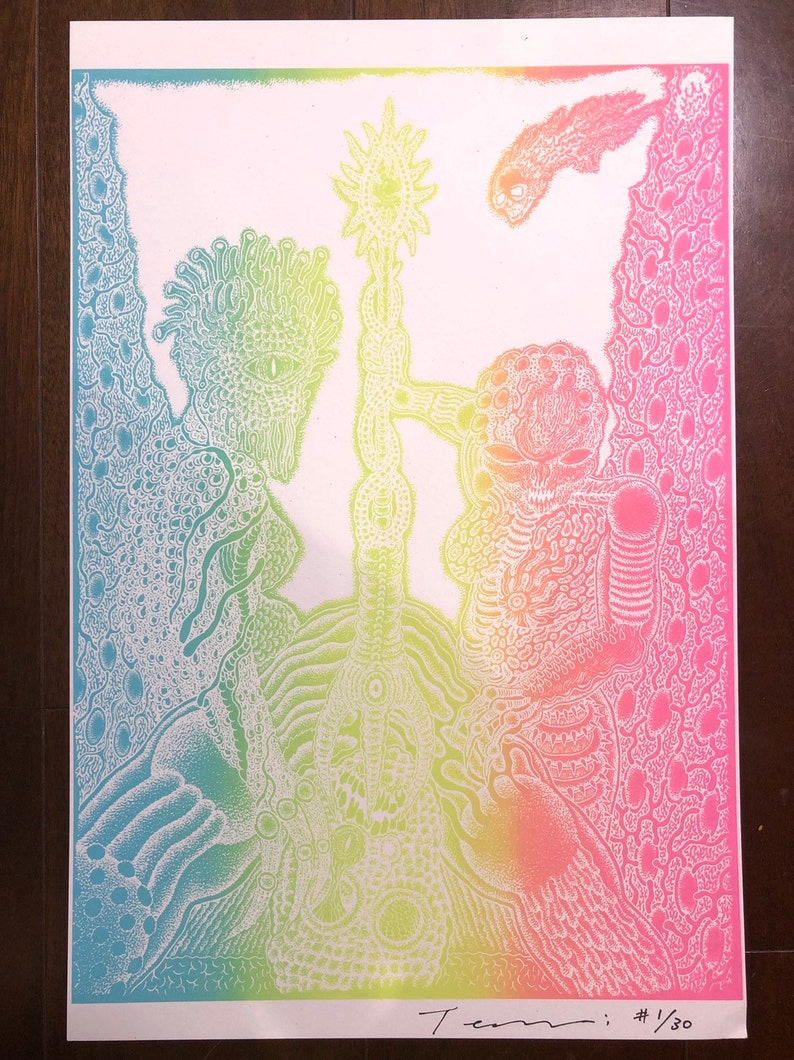Mayan Ritual Screenprints/ 3 color 48.2cm x 31.8cm 19 x image 0