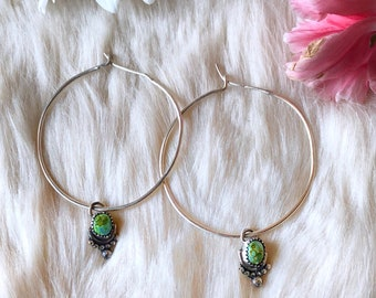 Silver & Turquoise Hoop Earrings // Sonoran Gold Turquoise // Sterling Silver // Dangle Earrings