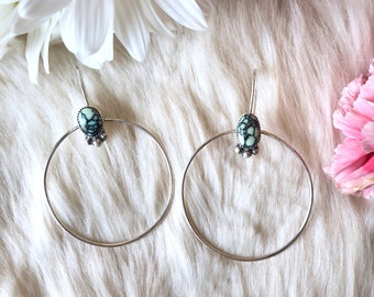 Poseidon Variscite Hoop Earrings // Poseidon Variscite // Sterling Silver // Dangle Earrings