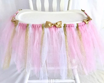 Premium Pink & White Highchair Tutu - First Birthday Banner - 1st Birthday Girl - Cake smash tutu - Party Decorations - 1st birthday