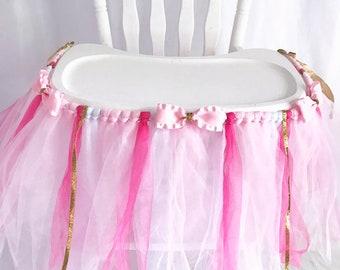 Bright & Light Pink Highchair Tutu w/Gold - First Birthday High Chair Banner - Cake smash tutu - High chair skirt -  girls 1st bday decor