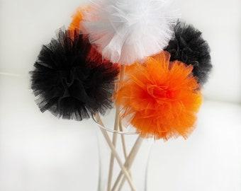 Premium Tulle Halloween Pom Pom Wands -Pumpkins - PomPom Bouquet/Centerpiece - Baby Shower/Birthday Party favor - Flower Girl Poms
