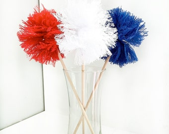 Premium Lace Americana Pom Pom Wands - Party Favors - PomPoms - Baby Shower - Bridal Shower Centerpieces - fourth of july - dessert table