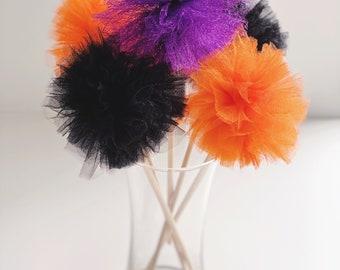 Premium Tulle Witchcraft Halloween Pom Pom Wands - PomPom Bouquet/Centerpiece - Birthday Party favor - Homedecor-Flower Girl Poms