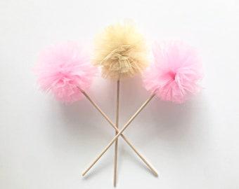 Premium Tulle Golden Fairy Pom Poms - Princess Wand - PomPom Bouquet/Centerpiece - Baby Shower/Birthday Party favor - Flower Girl Wand