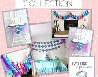 Mermaid Party Dessert Table Decorations - High chair tutu - Happy Birthday Banner - Tissue Paper Tassel Garland - First Birthday