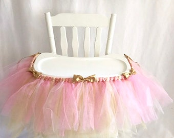 Deluxe Pink and Gold Highchair tutu - First Birthday High chair Banner - Cake smash tutu - High chair skirt -  girls 1st bday decor