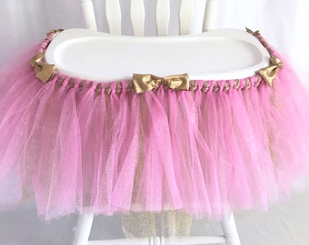 Deluxe Pink + Gold Highchair Tutu - First Birthday girl - High chair Banner - High chair decoration - 1st Birthday Party - party decorations
