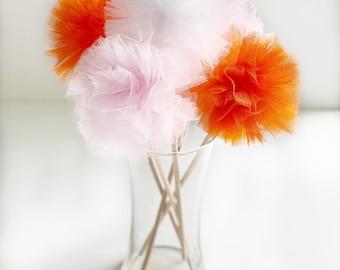 Premium Tulle Sweet Pumpkin Pom Pom wands - Little Pumpkin- PomPom Bouquet/Centerpiece - Baby Shower/Birthday Party favor - Flower Girl Poms