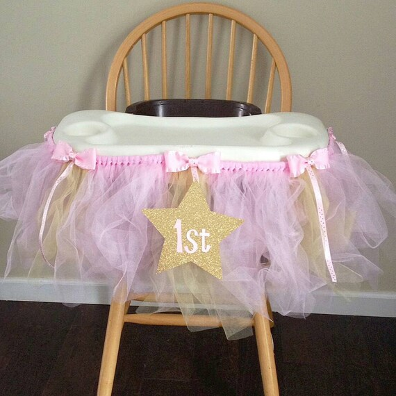 Pink And Gold High Chair Tutu First Birthday Decorations