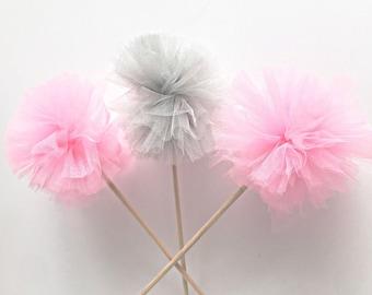 Premium Tulle Sugar Plum Fairy Pom Poms - Princess Wand - PomPom Bouquet/Centerpiece - Baby Shower/Birthday Party favor - Flower Girl Wand