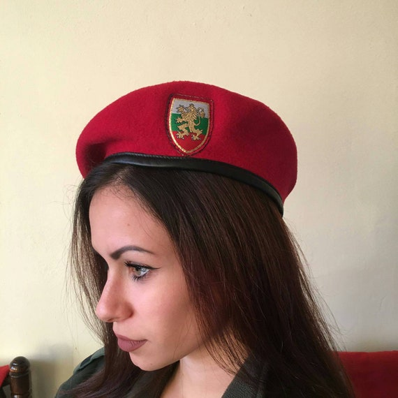 Vintage Army Red Beret, Bulgarian Beret, Wine Red