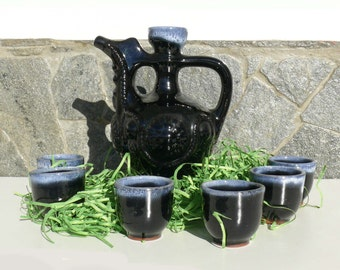 Set of Antique Traditional Bulgarian pottery liquor-cider / Collectible Bulgarian Folk pottery set/ table service