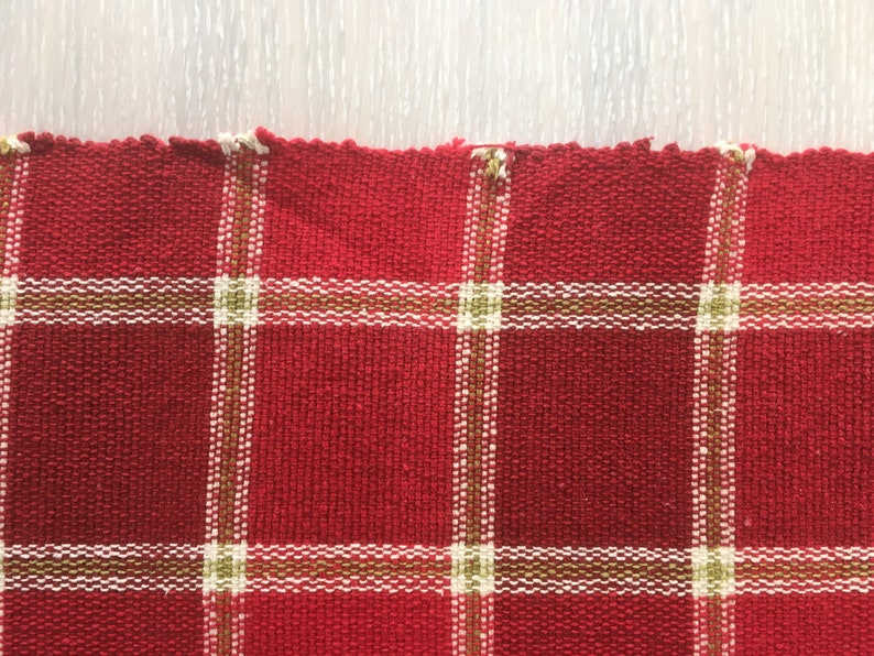 Textile Art Size 13 x 55/'/' Red Rug Scandinavian Hand Woven Table Runner Table Topper Cotton Table Cloth Vintage Home Decor