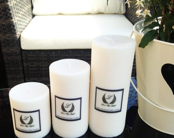 Luxury medium unscented pillar candle, Hand poured natural vegan candles, great for new home gifts and birthday gifts for vegans