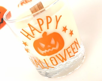 Halloween candle,Scented candle with frosted candy apple, Pumpkin design,hand poured with ecosoya wax & a wood wick, halloween decoration