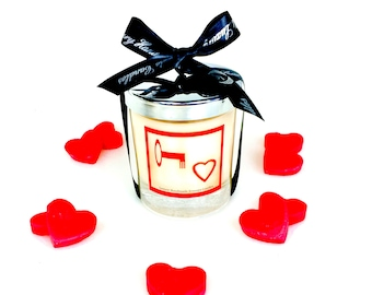 key to my heart scented candles, christmas gift for her or him, hand poured ecosoya wax candle with a wood wick, gift for couples or partner