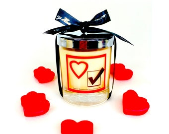 i love you scented candles, christmas gift for her or him, hand poured ecosoya wax candle with a wood wick, gift for couples or partner