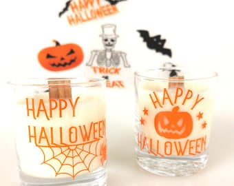 Halloween candle, scented candle with frosted candy apple,hand poured with ecosoya wax & a wood wick, halloween decorations, halloween gifts