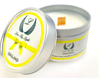 Melon & Cucumber scented candle in a Tin candle, Hand poured fruity summer scented candle with a woodwick