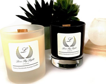 Lime Basil & Mandarin scented candles, black contemporary candles, hand poured ecosy wax scented candle with a wood wick, christmas gift