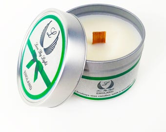 Spring Rain scented soy candle in a tin candle, hand poured with ecosoya wax with a wood wick, Birthday gift for her, stocking filler gift