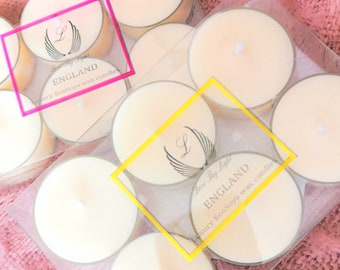 Honeysuckle scented tea lights, handmade with Luxury Ecosoya wax, Great birthday gifts for her, floral candles