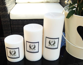 Luxury Ecosoya wax large unscented pillar candle, Hand poured natural vegan candles, great new home gifts and birthday gifts for vegans
