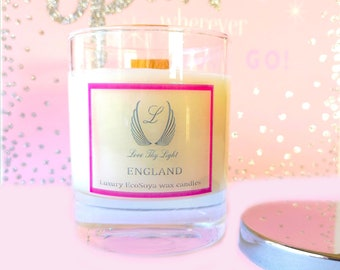 Jasmine scented candle,Birthday gift candle for her or mothers day gift candle, Hand poured with ecosoya wax with a wood wick