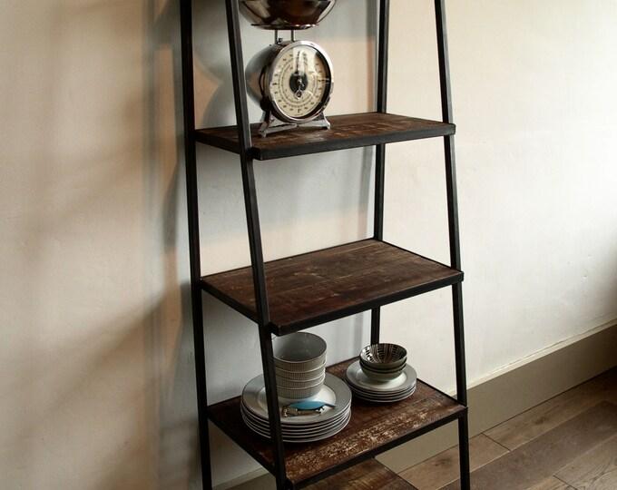 Industrial Style Ladder Shelving Unit -       dark distressed wood