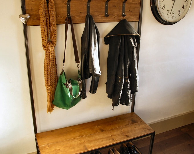 Industrial style Coat Stand with Bench Seat