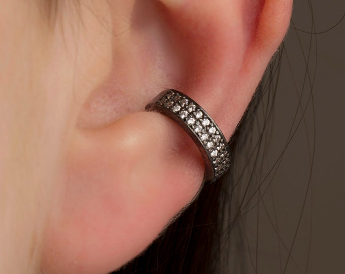 Black Double Row Ear Cuff , CZ Pave Ear Cuff, Ear Wrap Earrings, Boho Jewelry, Non Pierced Ear Cuff, Ear Wrap, Black Ear Cuff
