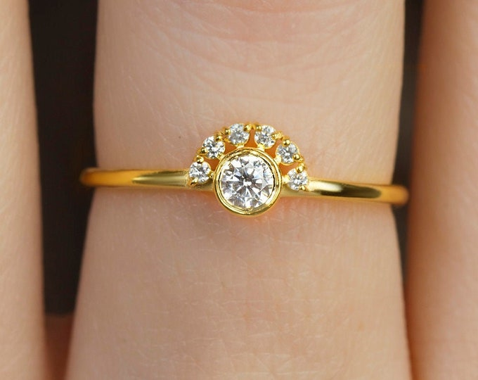 14k Gold Wedding Band , Petite CZ Wedding Ring , Half Eternity Minimal Ring , Stacking Ring , Handmade Ring Thin Ring