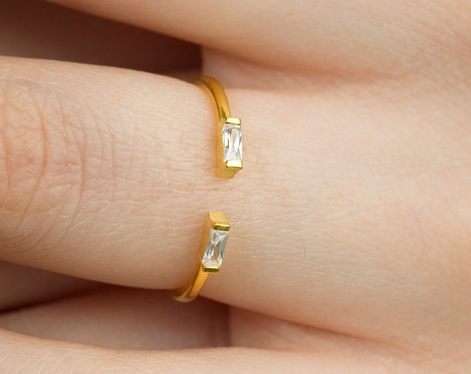 Double Baguette Ring , 14k Solid Gold Baguette Diamond Engagement Ring , Stacking Ring , Dainty Diamond Ring , Baguette Diamond Ring