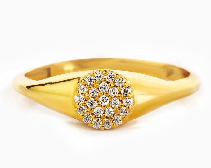14K Gold Diamond Signet Ring , Diamond Pinky Ring in 14k Gold , Diamond  Gold Promise Ring with Micro Pave Setting , Hand made Ring