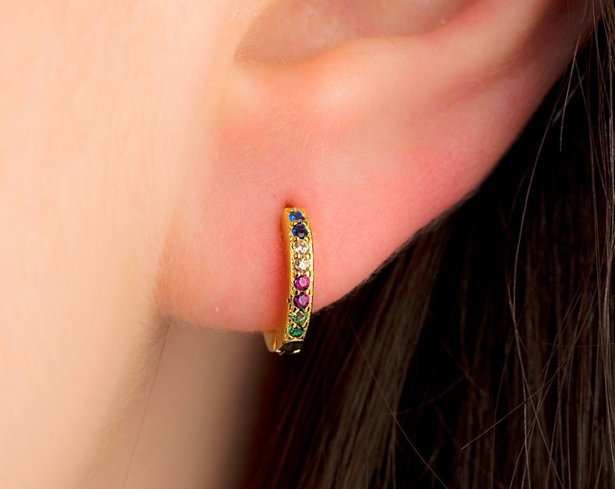 Rainbow Huggie hoop earrings - CZ gold huggie earrings - Tiny hoop earrings - Tiny gold hoops Gold hoop earrings - Dainty hoop earrings