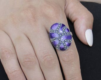 Limited Edition Ring, Sterling Silver Ring , Enamel Ring, Marcasites Ring, Pop Art Ring, Unique Jewelry