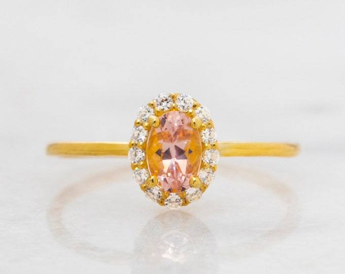 Natural Morganite Ring , Solid Gold Engagement Ring , Gold Halo Wedding Ring , Proposal Ring , Gold Ring Diamond CZ