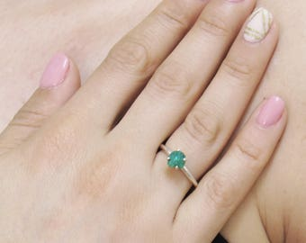 Raw Emerald Ring, Rough Emerald Ring, 1.00+ Carat Uncut Emerald Ring, Anniversary Ring, Engagement Ring, Wedding Ring, Colombian Emerald
