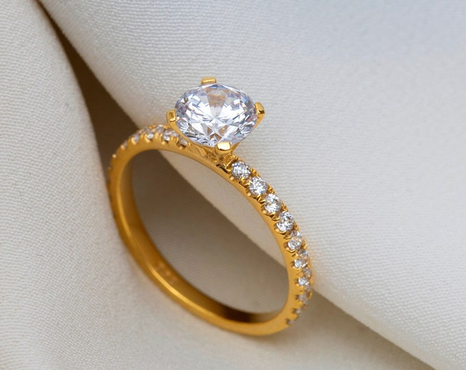 Real Gold Engagement Ring Gold Diamond CZ Halo Wedding Ring Proposal Ring Gold Minimalist Gold Engagement Ring