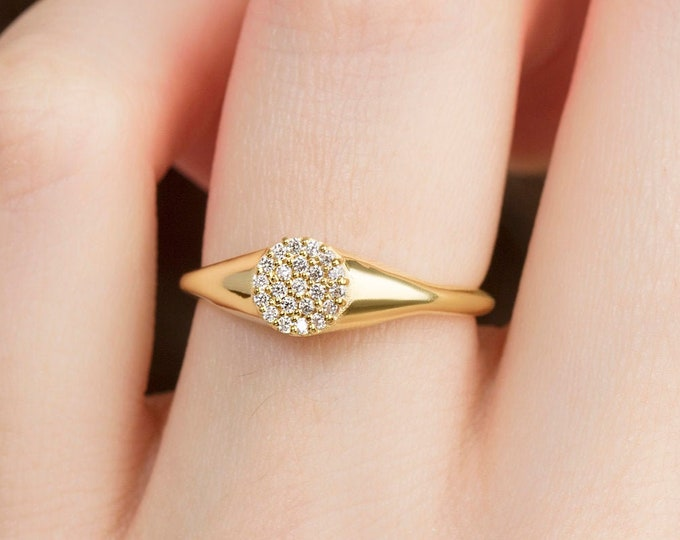 18K Gold Filled Signet Ring , Diamond Pinky Ring in with CZ ,  Gold Promise Ring with Micro Pave Setting , Handmade Ring